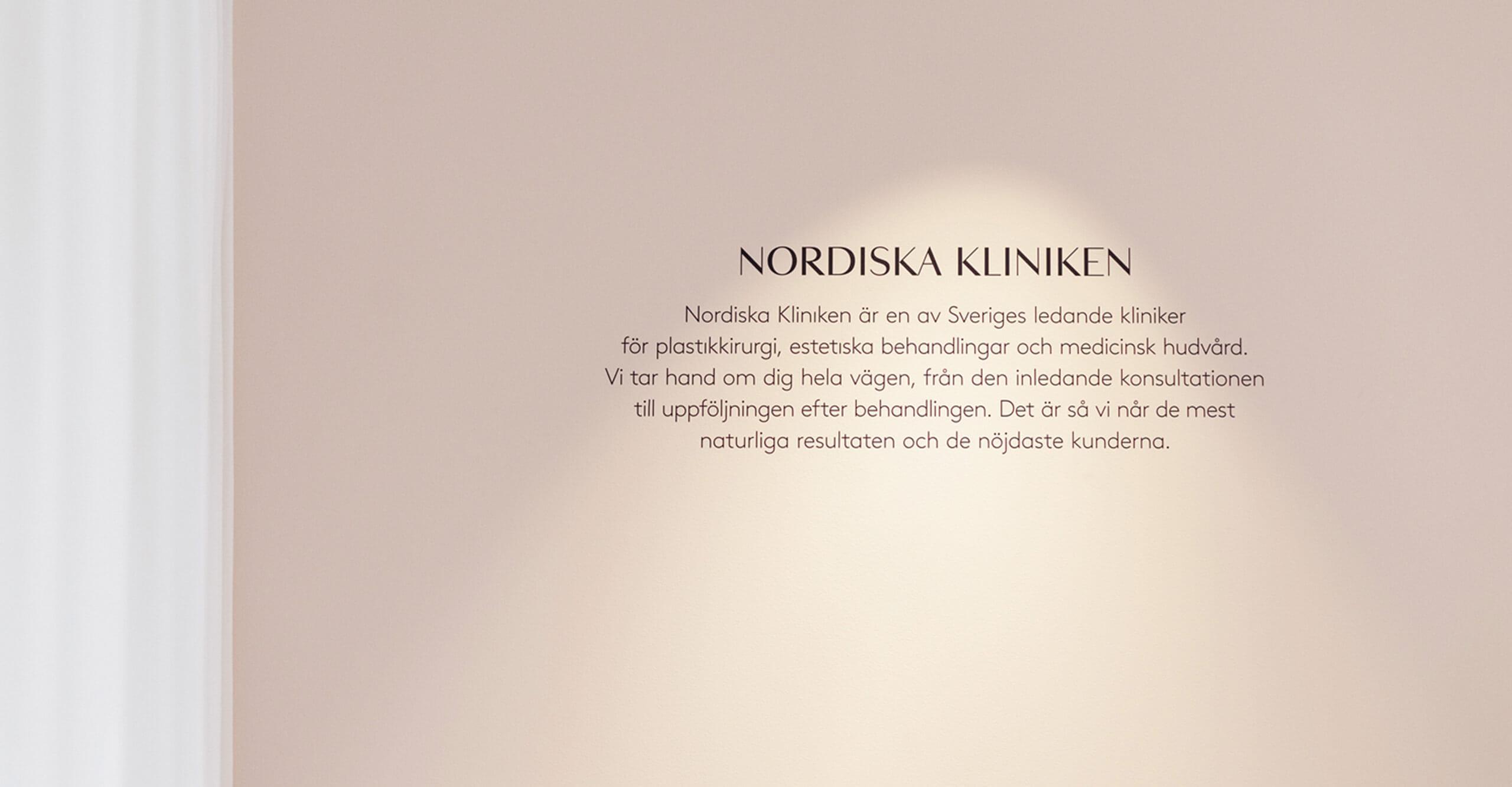 Citat på vägg hos Nordiska Kliniken